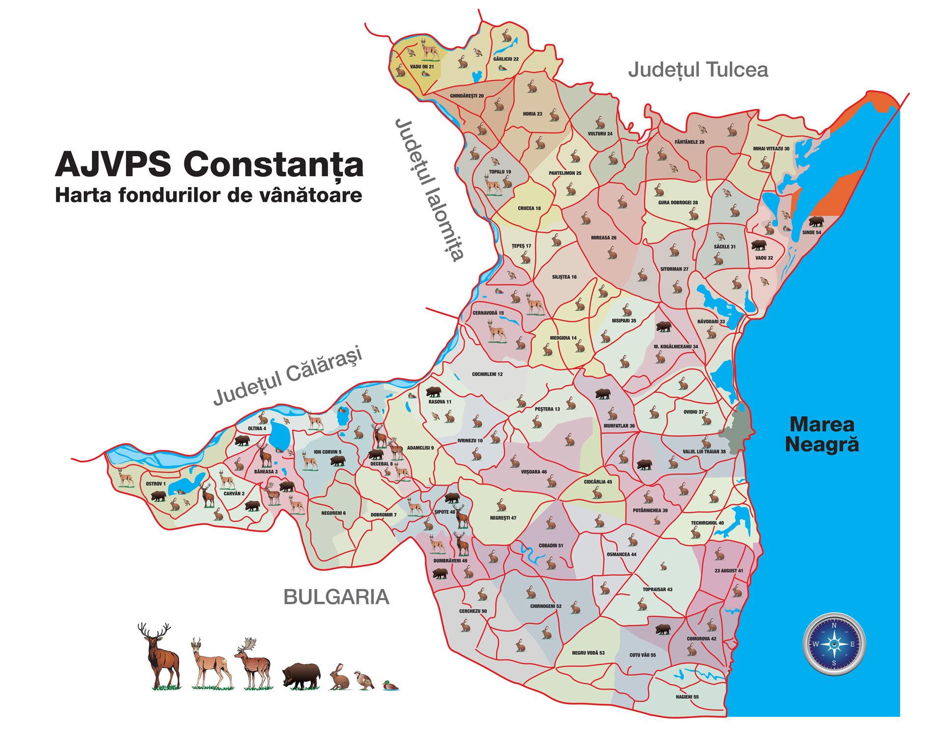 harta fonduri de vanatoare - AJVPS Constanta